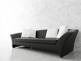 Interior with black sofa