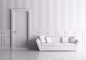 Interior with door and sofa