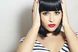 Beautiful Brunette Woman. Black Hair Girl.Fringe.Red Lips