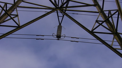 High voltage transmission line insulator zoom in