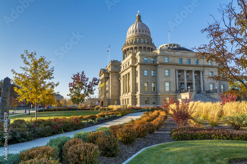 Sidewalk leads to the Idaho state capital