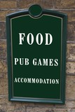 sign. Food. bub games. accommodation poster