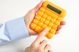 The businessman and yellow calculator