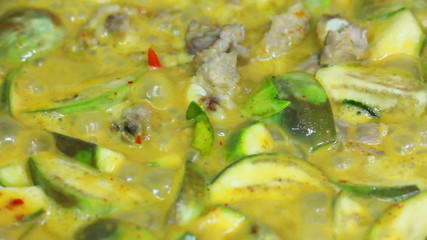 close up thai green curry boil in pot