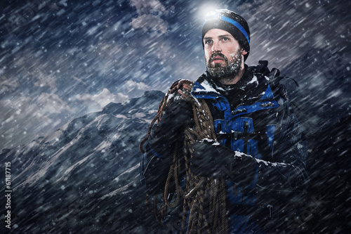 Adventure explorer mountain man