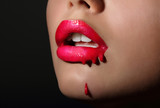 Glamor. Woman's Red Lips with Drops. Splash