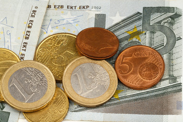 Macro photography of euro money and coins