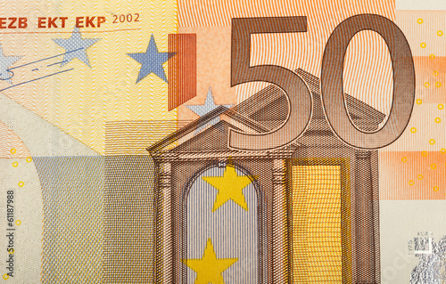 detail of euro fifty money banknote