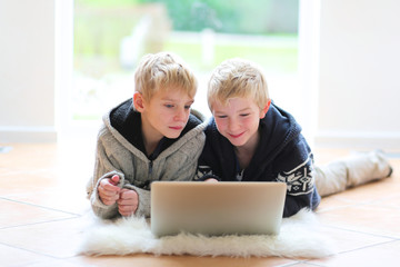 Two happy boys, twin brothers, playing together using laptop