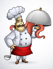 Chef with signature dishes of tentacle