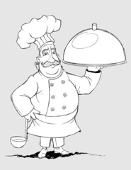 Chef with a signature dishes. Freehand drawing