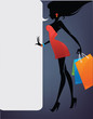 girl silhouette and shopping bags