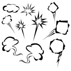 cartoon elements, speech bubble set