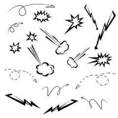 cartoon elements set, arrow and cloud set