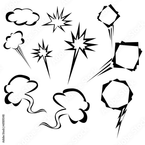 cartoon elements, speech bubble set