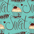 Sweet chocolate cupcake background
