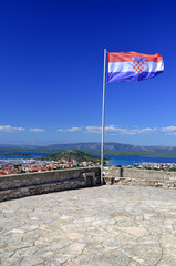 croatian flag on top of murter island