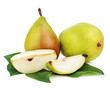 Pears with cut and green leaves isolated on white background.