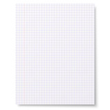 Flat sheet of squared notebook paper isolated on white