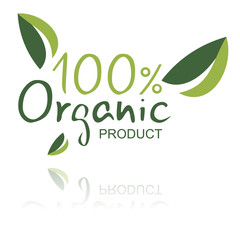 Organic Product sign isolated in white.