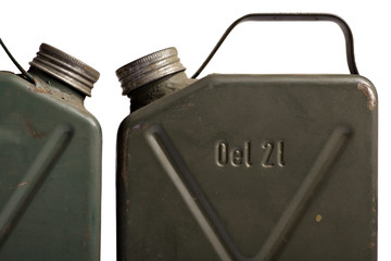 Old and rusty military gasoline canisters
