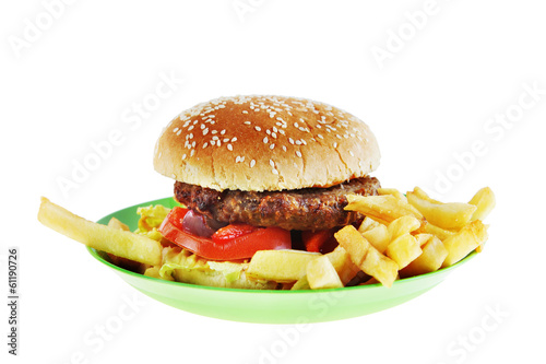 Hamburger in the plate isolated on white background
