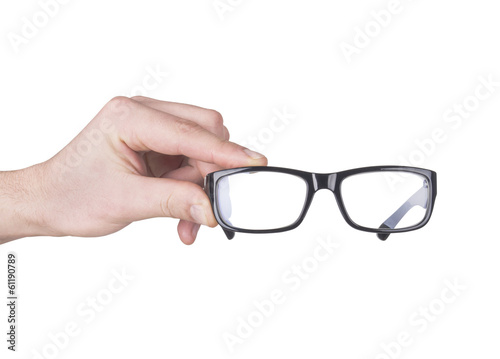 man hand with black glasses, isolated on white