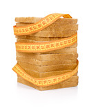 bread grasped by measuring tape poster