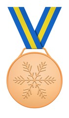 Bronze medal with blue yellow ribbon