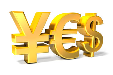 Yes - Yen, Euro, Dollar gold icons