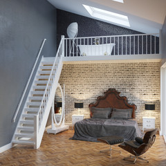 Large Bedroom Interior With Stairs And Vintage Furniture