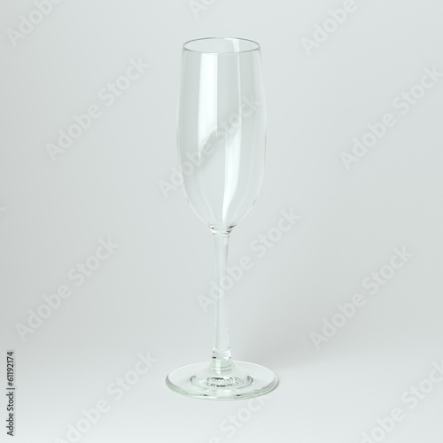 Flyute Glass For Champagne On White Background