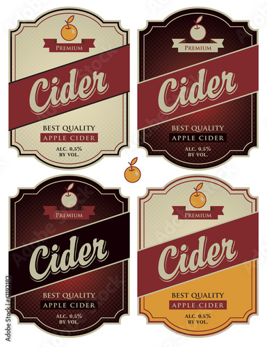 set of four vector labels for cider