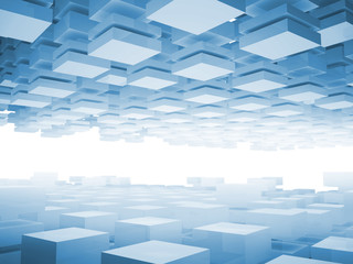 Abstract 3d background with light blue boxes