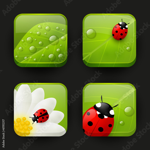 Set of summer apps icons