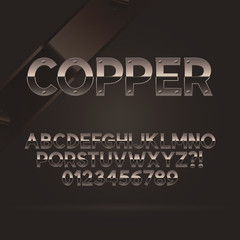 Copper Font and Numbers, Eps 10 Vector, Editable for any Backgro