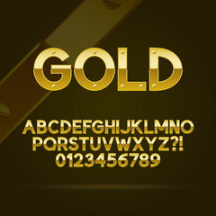 Gold Font and Numbers, Eps 10 Vector, Editable for any Backgroun