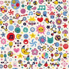 fun doodle cartoon pattern