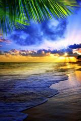 Beautiful Caribbean sunrise. Morning sky.