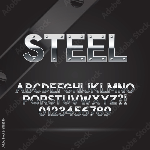 Steel Font and Numbers, Eps 10 Vector, Editable for any Backgrou
