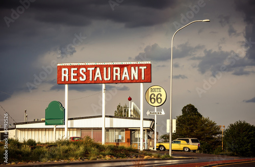 Restaurant sign along Route 66 Poster