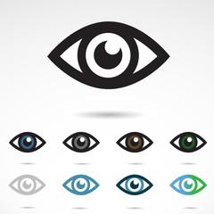 VECTOR eye icons isolated on white background.