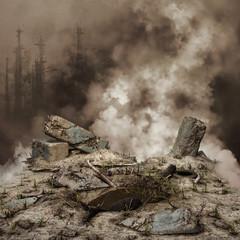 Gruzy i dym na tle zniszczonego miasta