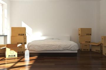 3D Raum mit Umzugskisten und Bett