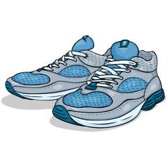 vector color cartoon illustration - running shoes