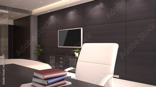 3d render of hotel room office desk with books on desktop