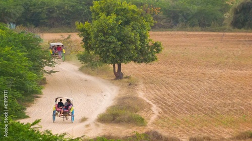 Carts with horses on a rural road in the evening. Burma, Bagan