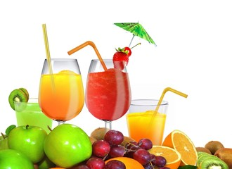 Fresh Fruits and Juice over White