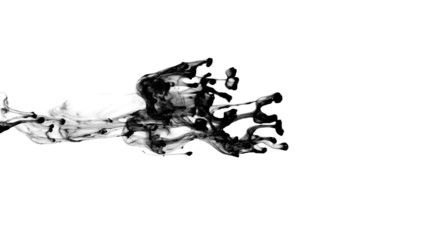 Ink spreads. Liquid ink splash in water.