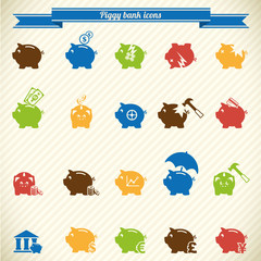 Collection of piggy bank icons in color